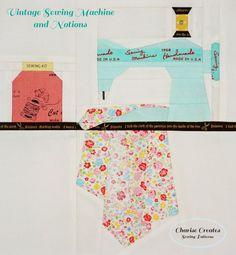 Vintage Sewing Machine & Notions  Paper Piecing por ChariseCreates