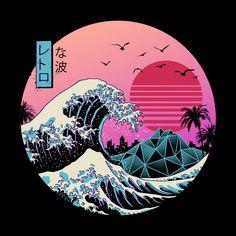 The Great Retro Wave Art Print by Vincent Trinidad Art - X-Small Waves Wallpaper, Retro Wallpaper, Aesthetic Iphone Wallpaper, Aesthetic Wallpapers, Retro Kunst, Retro Art, Animes Wallpapers, Cute Wallpapers, Aesthetic Art