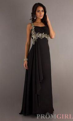 Long Black Gold One Shoulder Prom Dresses