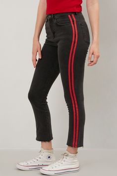 High Waist Cigarette Jeans with Red Stripes