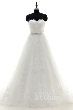 Sweet A-Line Sweetheart Train Tulle Ivory Zipper With Button Wedding Dress with Appliques and Ribbons LD3814