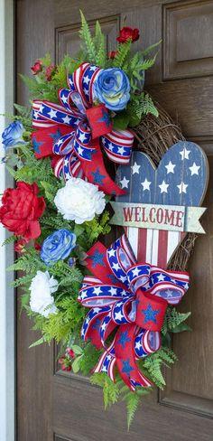 Patriotic Wreath, Patriotic Crafts, Patriotic Decorations, Memorial Day Decorations, Memorial Day Wreaths, 4th Of July Wreaths, Patriotic Images, Wreath Crafts, Stenciling