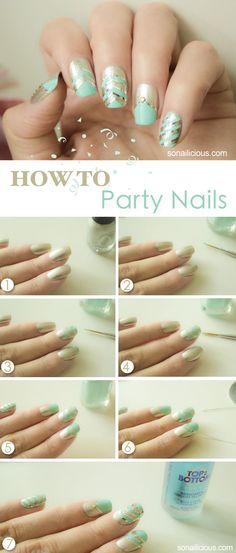 Party nails art tutorial. Click for more nail art tutorials. #nailart #mint #nails #silver