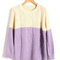 Cable Knit Jumpers in Color Block