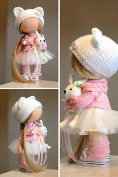 Rag doll Fabric doll Summer doll handmade by AnnKirillartPlace  with <3 from JDzigner www.jdzigner.com