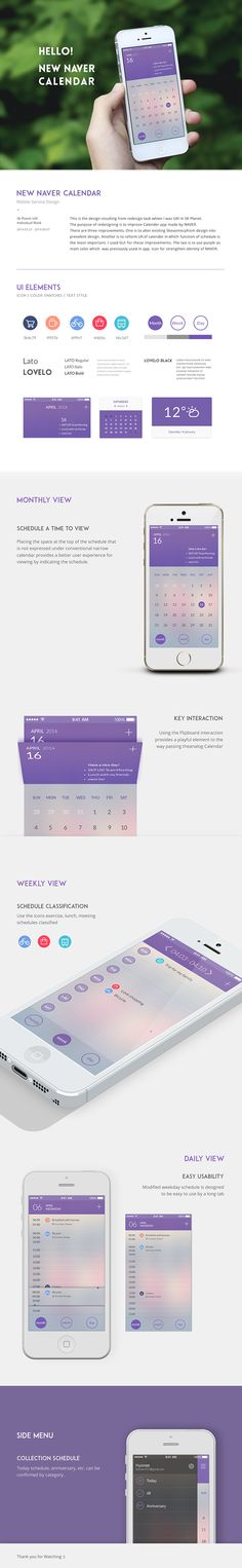 naver calendar_redesign on Behance Web Design Mobile, Design Ios, Flat Design, Interface Web, User Interface Design, Design Responsive, Mobile App Ui, Application Design, Calendar Design