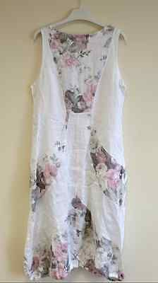 New Ladies Italian Lagenlook Quirky Boho FLORAL Balloon Pocket Linen Tunic Dress