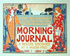 Morning Journal A Modern Newspaper original vintage Maitre De L Affiche poster Plate 220 by Louis Rhead from 1900 France