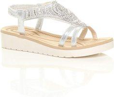 f937c6663bc Ajvani Womens Ladies Low Wedge Heel Flatform Diamante t-Bar Slingback Sandals  Size 5 38  Amazon.co.uk  Shoes   Bags