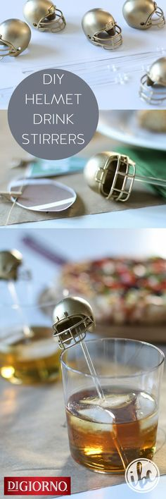 Win big at your football party w/these DIY helmet drink stirrers from /inspiredbycharm/  in partnership with DIGIORNO. Supplies: DIGIORNO Original RISING CRUST pizza, mini football helmets, spray paint, E-6000 glue, plastic drink stirrers. 1. Spray paint mini helmets (inside and out) in color of your choice. 2. Glue inside of each helmet to drink stirrer. 3. Let stirrers dry before use. 4. Enjoy your favorite beverage alongside a piece of DIGIORNO Original RISING CRUST pizza!