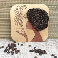 Magnets on the refrigerator, Wooden Magnet, Best Magnet, Refrigerator Magnet, Great Present, the girl with a cup of coffee, wall panel,