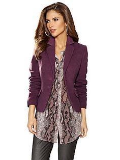 Veste blazer en laine, couleur mauve, col relevé très élégant