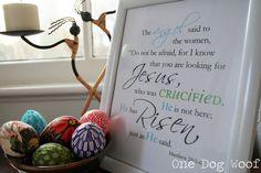 Free Easter Resurection Sunday Print One Dog Woof: He has Risen! Printable