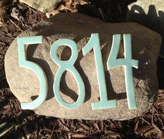 Stoneware Address Porch Post House Numbers Original by Popogirl, $10.00
