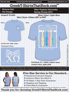 Chi Omega 511001 ...................................................  WORK 1 ON 1 with a member of our design team until your T-Shirt idea is perfect.... and ALWAYS get them on in time (or before you even need them) at the price you want!  ...................................................  Just click this design, it will take you to our website where you can  upload your ideas and get everything started!