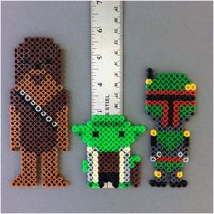 Star Wars Chewbacca Yoda Boba Fett Perler Bead Characters Magnets by HarmonArt