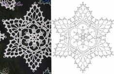 Crochet Ornament Patterns, Crochet Snowflake Pattern, Crochet Mandala Pattern, Crochet Stars, Crochet Ornaments, Christmas Crochet Patterns, Crochet Snowflakes, Crochet Diagram, Crochet Christmas Decorations
