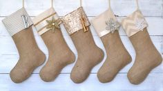 Christmas Stockings Set of 5 - Silver & Gold Collection - Monogrammed Tags Available
