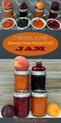 This simple jam recipe works with any kind of fresh or frozen stone fruit like peach nectarine plum apricot and cherry Freeze or can it Printable labels are p. Sauce Dips, Plum Apricot, Homemade Jelly, Fruit Jam, Peach Fruit, Peach Jam, Jam And Jelly, Stone Fruit, Food Words