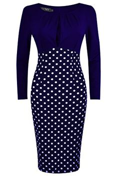 HCMY Wear To Work Midi Evening Dresses for Women Party Long Sleeve Formal Dot Blue L * To view further for this item, visit the image link.