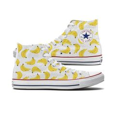 These Banana Pattern Converse shoes started as Custom Chucks requested by a friend. They have become one of our most requested shoes so we decided to offer them on the site. Both panels of the shoe ar