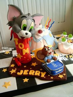 TOM & JERRY Cake Need somethinglike this for Graysons 4th bday party