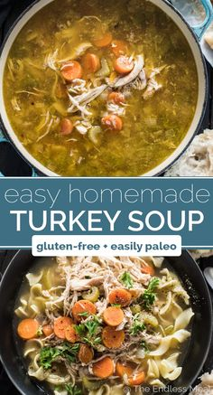 Easy Homemade Turkey Soup SAVE FOR LATER! Making Homemade Turkey Soup after your Thanksgiving or Christmas dinner is super easy and a delicious way to use all the leftovers. This is the basic, easy homemade turkey soup recipe you remember your mom making. Homemade Turkey Soup, Leftover Turkey Soup, Best Turkey Soup, Instant Pot Turkey Soup, Recipe For Turkey Soup, Recipes For Leftover Turkey, Basic Soup Recipe, Thanksgiving Leftovers, Thanksgiving Recipes