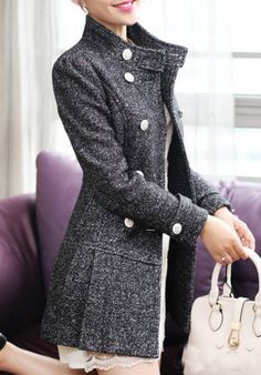 Black Snow Wool Jacket formal outwear dress mini skirt OL women coat winter jacket Autumn