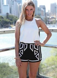 Black Shorts with White Piping & Print