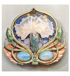 René Lalique 1901 - 'Carnation' Brooch: gold, cast glass, enamel, opals. ✖️More Pins Like This One At FOSTERGINGER @ Pinterest✖️