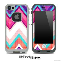 LifeProof Case iPhone 5C | ... Blue Vintage V1 Chevron Skin for the iPhone 5 or 4/4s LifeProof Case WANT.