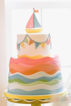 sailboat birthday cake.  Whoa that is a lot of fondant.  Might do a strip on top and paint or airbrush colors instead.