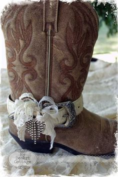Boot Belt Ideas - repurposed belts were cut down and embellished with lace, beads, etc. This is so creative!  **My Desert Cottage**: Going Boot Belt Crazy!!