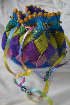 Entrelac Trinket Bag pattern by Mary Scott Huff Free Knitting, Knitting Patterns, Crochet Patterns, Purse Patterns, Sewing Patterns, Diy Knitting Projects, Crochet Purses, Knitting Accessories, Knitted Bags