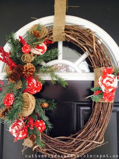 Holiday Wreath, DIY with burlap and red chevron fabric.