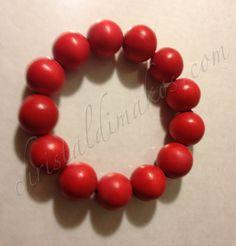 shiny red beads bracelet