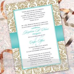 Spanish quinceaera invitations quinceanera invitations weddings this elegant quinceanera invitation also nice as a bridal shower invitation retirement party solutioingenieria Choice Image
