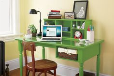 A desk is just a table with a job, right? Make your desk really work with built-in storage features. You can get this done in a day with some basic pieces from your local home-improvement store.