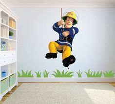 walltastic fototapete wandbild fireman sam feuerwehrmann sam kinderzimmer pinterest. Black Bedroom Furniture Sets. Home Design Ideas