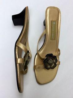 Etienne Aigner 8 Champagne Gold Flower Strappy Mules Sandals Heels Slide Pumps #EtienneAigner #SandalsSlides