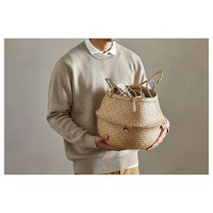 IKEA - FLÅDIS, Basket, seagrass, This braided basket has a unique look since each basket is handmade. You can choose how you want to use this basket – turned up with handles or turned down to display the contents. Ring Bearer Pillows, Ikea Family, Best Ikea, Small Storage, Storage Boxes, Affordable Furniture, Gras, Living Furniture, Furniture Board