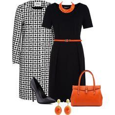 Pattern Coat Orange/Black #PolyvorePlus