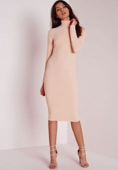 roll neck ribbed midi dress pale pink