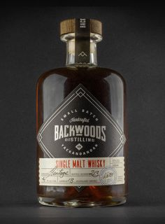 Whisky Packaging for Backwoods Distilling Co. Whiskey Label, Whiskey Brands, Cigars And Whiskey, Scotch Whiskey, Vodka, Tequila, Peach Drinks, Brewery Design, Strong Drinks