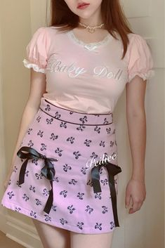 Wool Fabric, Pastel Pink, Short Dresses, Mini Skirts, Ribbon, Dolls, Sweet, High Waist, Model