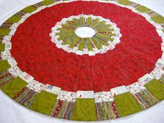 Christmas Tree Skirt Modern Patchwork Quilted Ready by SallyManke, $149.00