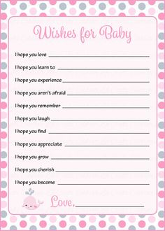 Wishes for Baby Cards - Pink Gray Whale Baby Shower Theme