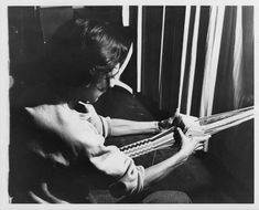 Anni Albers, Photograph of Anni Albers card weaving at Black Mountain College. Anni Albers taught Weaving and Textile Design at Black Mountain College from Courtesy The North Carolina State Archives. Bauhaus, Anni Albers, Josef Albers, Jonas Wood, Black Mountain College, Archives Of American Art, Teaching Positions, Card Weaving, Basket Weaving
