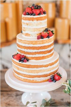 "Naked Cake. Like the cleanness. No icing on layers, just in-between. ""crust"" on cake edges."