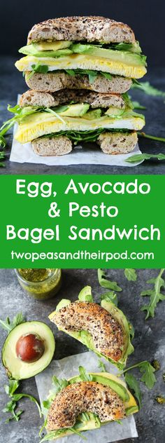 Egg, Avocado, and Pesto Bagel Sandwich recipe from @twopeasandpod